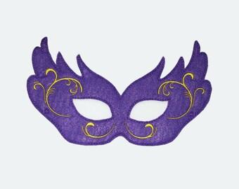 Purple Mardi Gras Mask Felt Embroidered Mask
