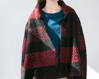 Wool Cardigan Black and Red Striped Sweater Loose Coat