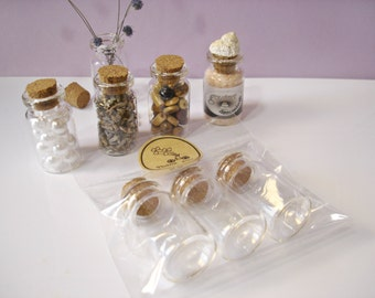 Small Glass Vials (8ml) with Cork Stoppers - 3 Glass Bottle Set - Clear Glass Mini Containers 8 ml - REF#GV8ML3