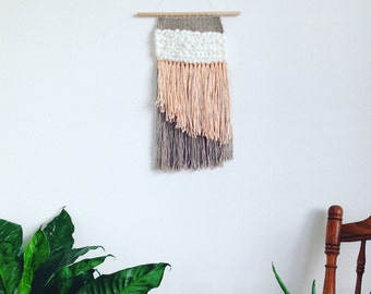 Baby Pink, Dark Oatmeal, Cream Woven Wall Tapestry