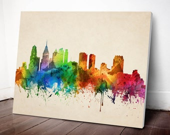 Philadelphia Skyline Canvas Print, Philadelphia Cityscape,Philadelphia Art Print, Home Decor, Gift Idea, USPAPH05C