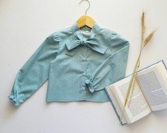 Girls handmade ' Amani ' aqua bow-tie cotton blouse
