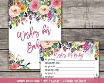 Floral Baby Shower Wishes for Baby Cards - Baby Wishes - Floral Baby Shower Game Baby-111