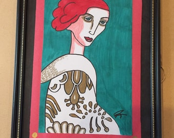 Framed 8x10 drawing of old fashioned lady