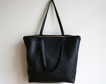 Black Leather Zip Tote