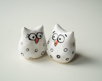 Handpainted Wedding Cake Topper, Owl Cake Topper,  Wedding Cake Decor, White Owl Ceramic Cake Topper by Her Moments
