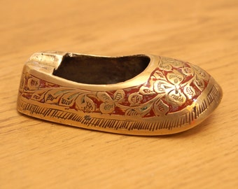 Solid Brass Shoe / mini ashtray || Rounded Toe || Made in India || miniature || enamel