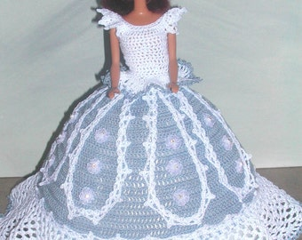 Crochet Fashion Doll Barbie Pattern- #527 BLUE LACE
