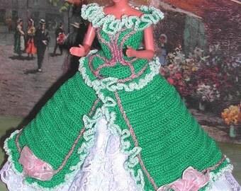 Crochet Fashion Doll Barbie Pattern- #603 GARDEN PARTY in GREEN