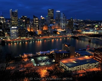"Pittsburgh City Skyline Print 13"" x 19"" Just Gorgeous ! Original Art by ME!"