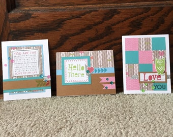 Greeting Cards; Set of 3 Greeting Cards; Hand Stamped Greeting Cards; Close To My Heart; CTMH; Love You Card; Hello Card