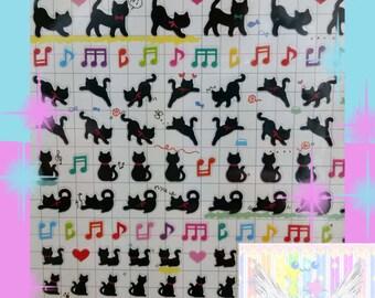 Black Kitty Cat Sticker Sheet