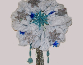 Christmas Wreath, Door wreath, Holiday Wreath,Blizzard Conditions ,Snowflake,  Ready to Ship!