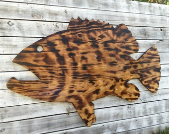 Large Outdoor Wall Art Fish Decor, Coastal Fish Sign, Goliath Grouper Wood Sign Outdoor, Fisherman's gift