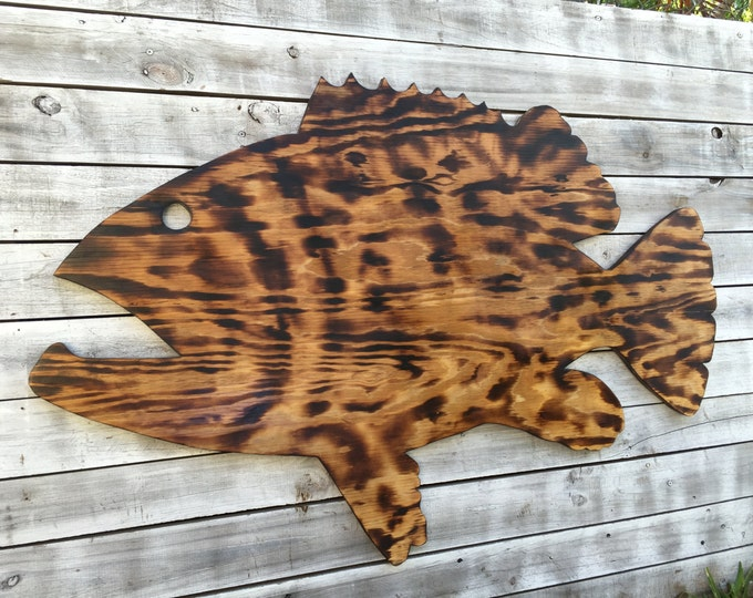 Large Outdoor Wall Art Fish Decor, Coastal Fish Sign, Goliath Grouper Wood Sign Outdoor, Fisherman's gift, Valentines gift idea.