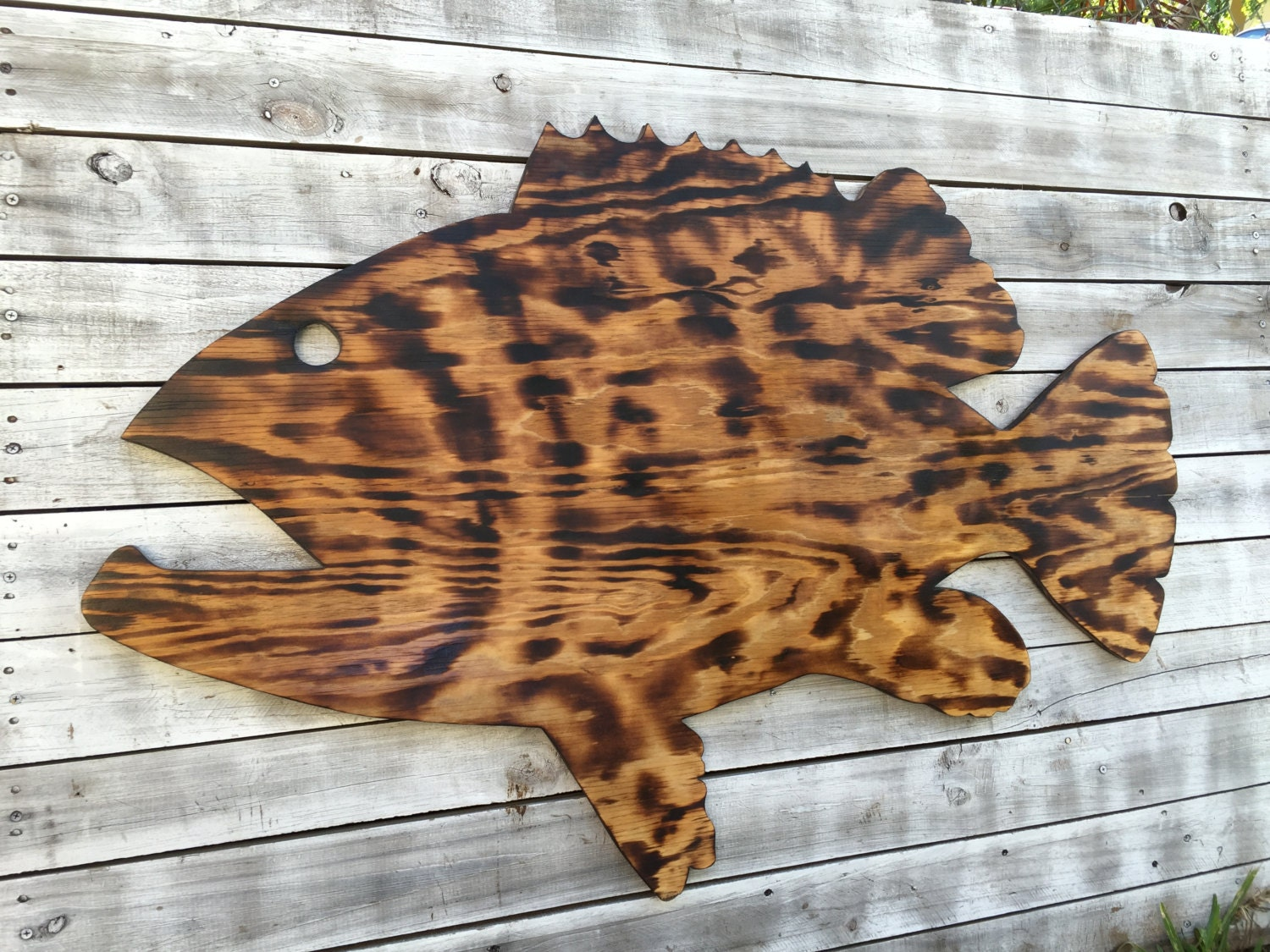 Outdoor Wall Art Fish Decor Coastal Fish Sign Goliath