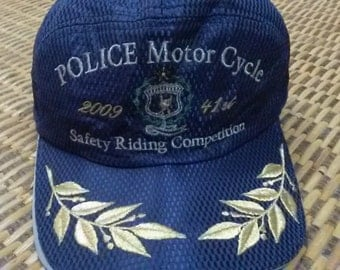 Vintage Police Motorcycles Cap Hat 90s 80s