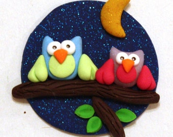 Night Owls magnet/card topper polymer clay/fimo BUY any 5 GET 1 free