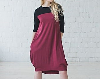 Knitted dress with pockets and sleeves 3/4 PARACHUTE