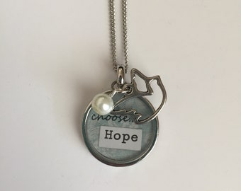 Choose Hope - Bezel Necklace with Charms