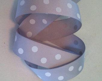 7/8 inch Gray grosgrain polka dot ribbon, 10 yards