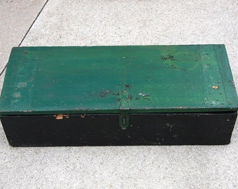 Antique Wooden Tool Box, Over 100 Years Old, Hand Made Work Box, Chippy Green Paint Old Primitive, Neat Hardware, Rustic Decor, Carpenter