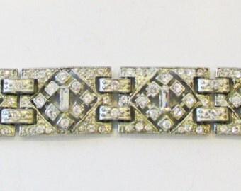 Vintage - Collectible - Art Deco Rhinestone Bracelet - Jewelry - Silver - Rhinestones - Bracelet - Sparkling - Elegant - Flawless - Gift
