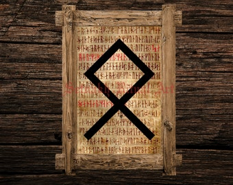 Othala print, rune illustration, Elder Futhark art, viking home decor, magical illustration, nordic, magic, occult canvas poster #339.24