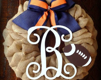 Burlap wreath, College wreath, Football wreath, Sports wreath, initial wreath,  Front door wreath, Fall wreath, Navy blue and orange wreath