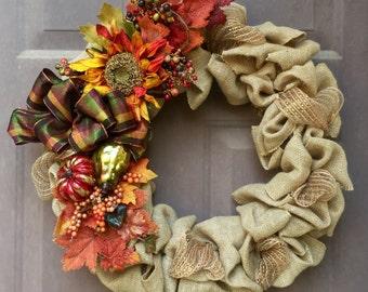 Fall Burlap Wreath, Thanksgiving Door Wreath, Pumpkin Door Wreath, Autumn Wreath