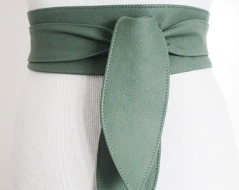 Light Green Obi Belt | Sash Belt | Waist Corset Belt | Leather Obi Belt | Bridal Belt | Wrap Belt | Green Corset Belt | Plus Size Accessory