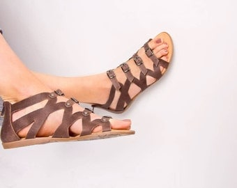 Gladiator style sandals.FREE SHIPPING in the USA, Women's Greek leather sandals, Handmade leather sandals,flat,brown,wedding,summer - Sophia