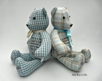 Memory and Keepsake Bears made from your loved ones clothing. personalised.