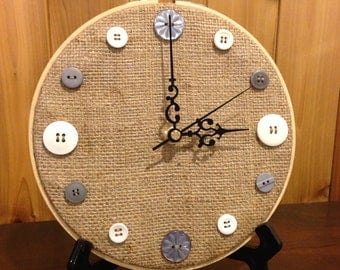 Burlap button clock