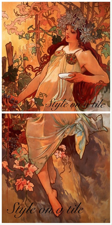 Lovely Alphonse Mucha Four Seasons Autumn Lady 2 x 6 or