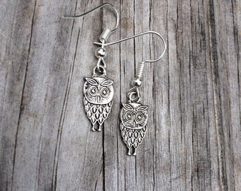 Owl Earrings, Silver Owl Earrings, Charm Earrings