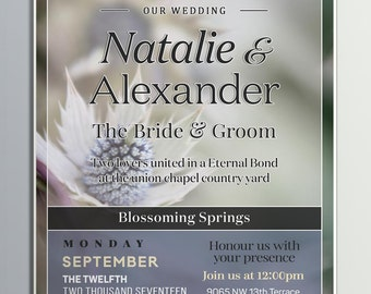 Custom Made Wedding Invitation, Digital Downloadable Wedding Invitation, Wedding Invitations, Wedding Digital Invitation, Wedding Invites