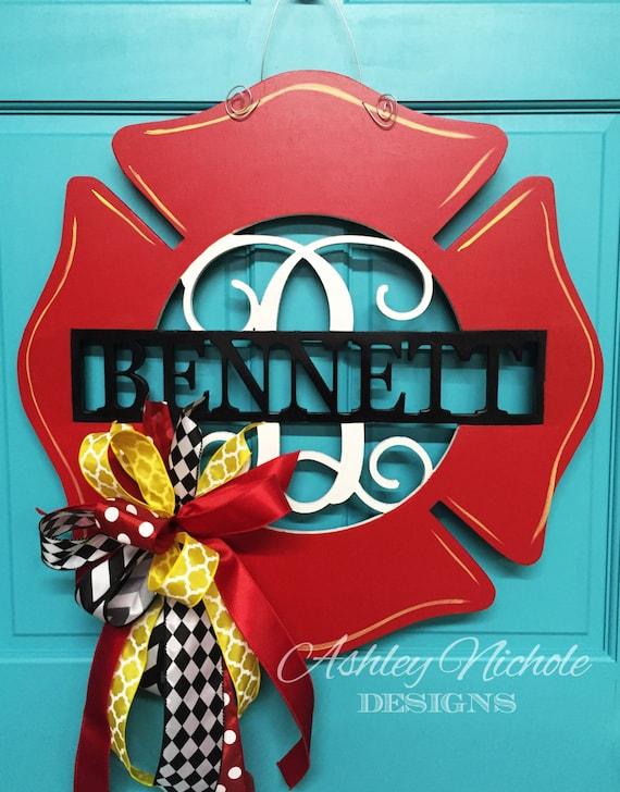 Firefighter Monogrammed Door Hanger Door Decor Firefighter