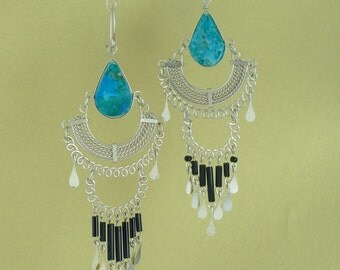 Chandelier Stone Earrings with Chrysocolla