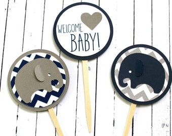 Elephant Baby Shower Cupcake Toppers - Elephant Chevron - Chevron Baby - Navy Elephant Toppers - Blue and Gray Elephant - Baby Elephant