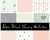 BRIAR WOODS Nursery Collection - Deer Baby Girl Crib Bedding Separates & Crib Sets - Design your own // Peach, Grey, Gray and Mint