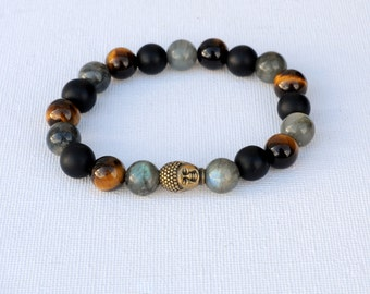 man labradorite Buddha onyx Tiger eye bracelet