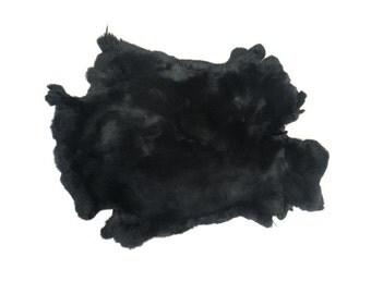 Rex Rabbit #1 Dyed Black: Grade A Pelt Skin Hide