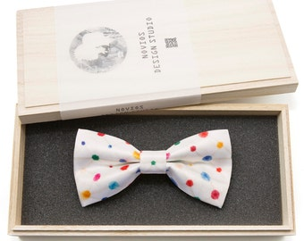 Colorful Dots Bowtie - Modern Boys Bowtie, Toddler Bowtie Toddler Bow tie, Groomsmen bow tie, Pre Tied and AdjustableNovioshk, H0275