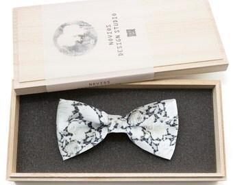 White Laces Bowtie - Modern Boys Bowtie, Toddler Bowtie ,Wedding Bowties, Groomsmen bow tie, Gift Pre Tied and Adjustable Novioshk, H0241