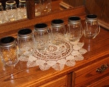 Set of 6 Hanging Clear Pint Size Mason Jar Solar Lid Light Metal Ring - Jars and Handmade Hangers Included