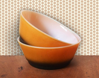 Vintage Fire-King Orange and Black Ombre fade Cereal Bowls Set of 2, mid century modern kitchen milk glass
