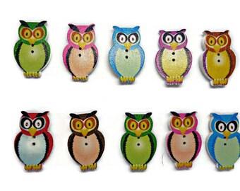 10 owl buttons,wooden owl buttons, multicolour owls, wildlife buttons, bird buttons, uk buttons supplies, sewing buttons, cardmaking buttons