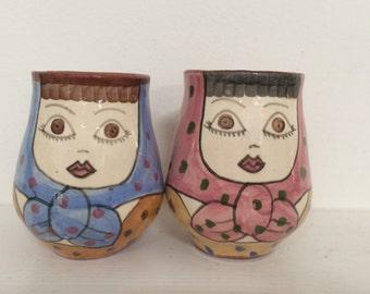 Hand Painted Folk Art Lady Mugs - Set of 2