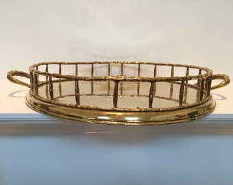 Brass Bamboo Tray - Mid Century / Hollywood Regency Large Round Brass Bamboo Barware Tray